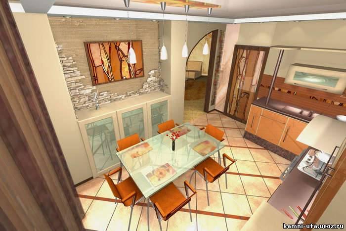Кухня с интерьерами в осенних тонах и